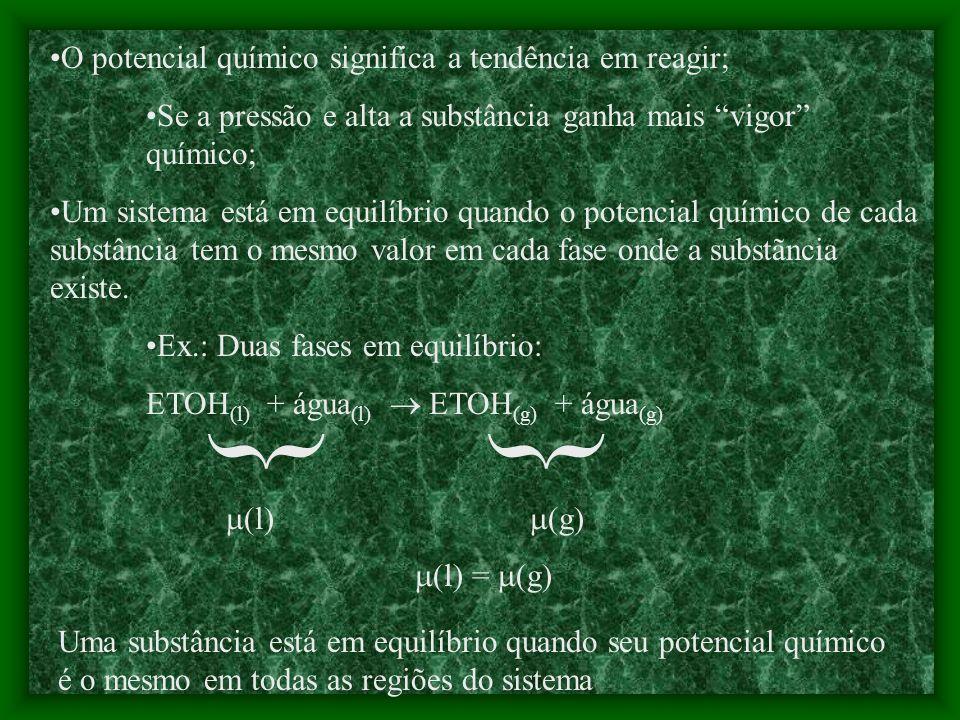 { { O potencial químico significa a tendência em reagir;