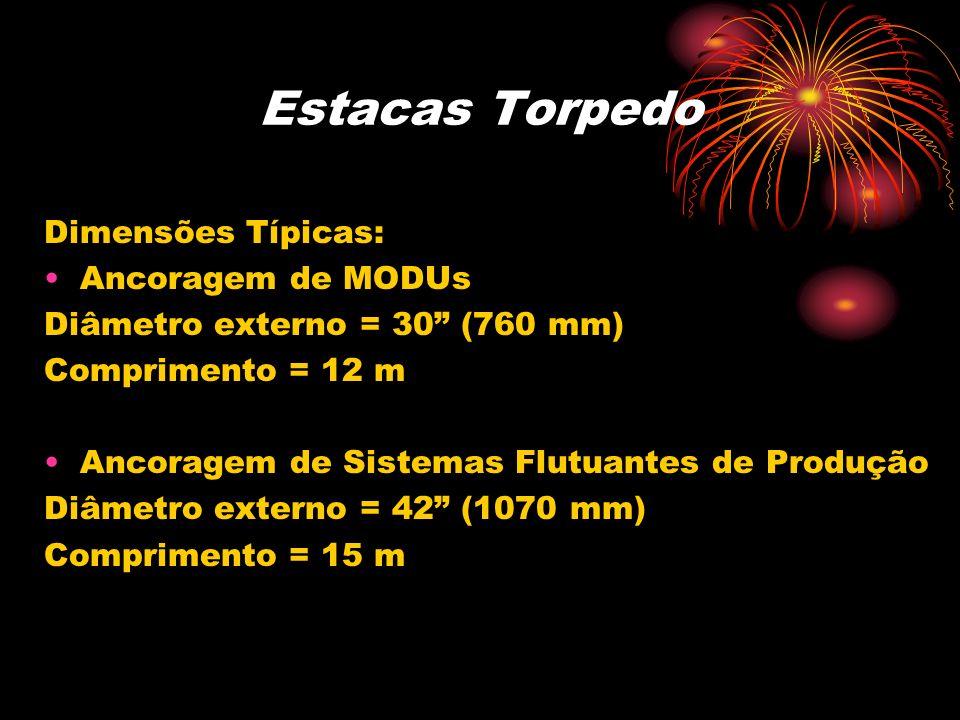 Estacas Torpedo Dimensões Típicas: Ancoragem de MODUs