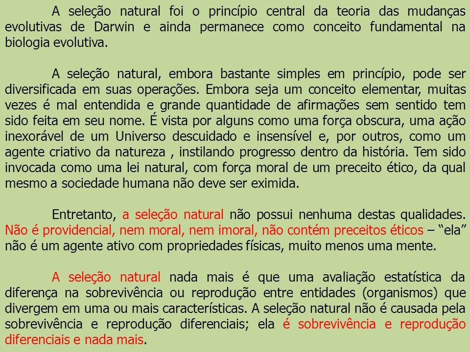 A seleção natural foi o princípio central da teoria das mudanças evolutivas de Darwin e ainda permanece como conceito fundamental na biologia evolutiva.