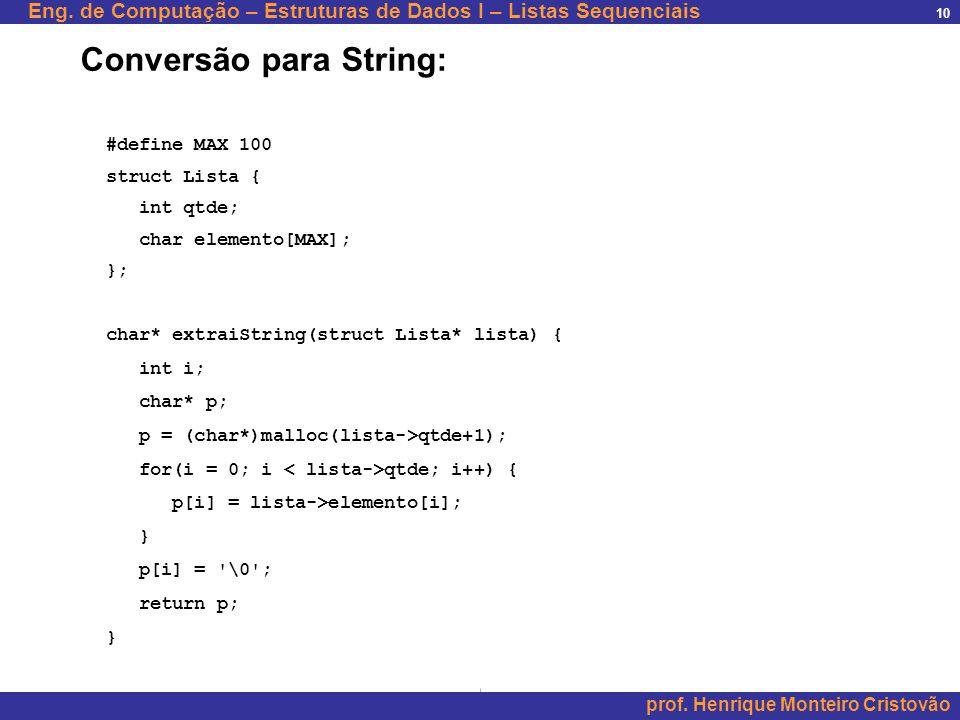 Conversão para String: