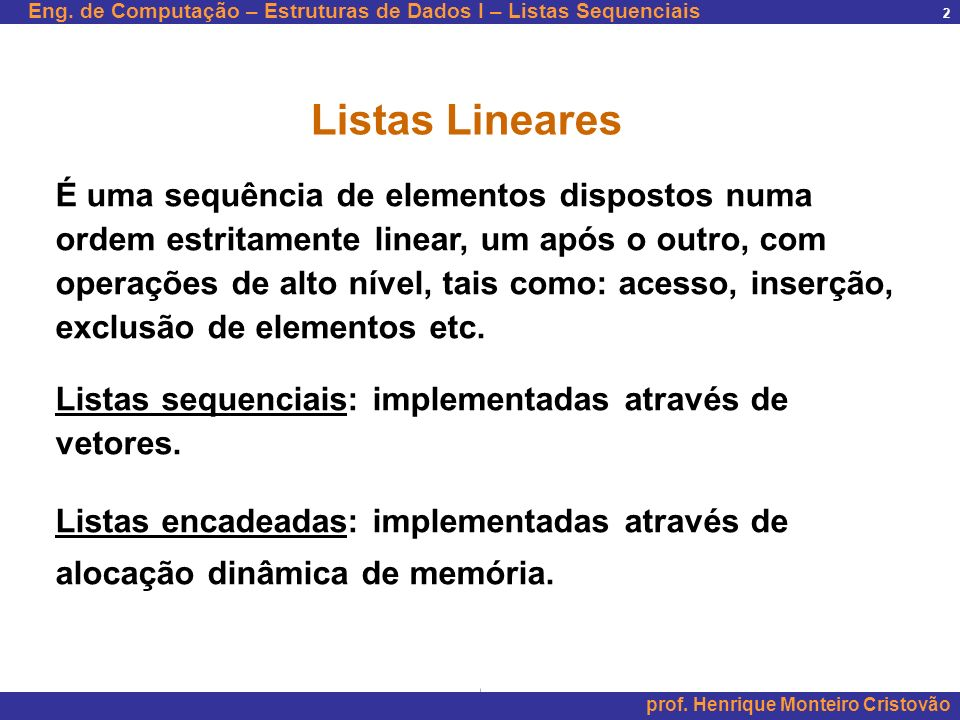 Listas Lineares