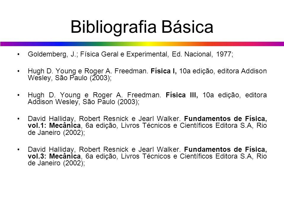 Bibliografia Básica Goldemberg, J.; Física Geral e Experimental, Ed. Nacional, 1977;