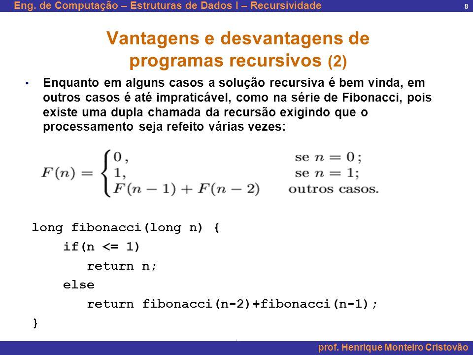 Vantagens e desvantagens de programas recursivos (2)