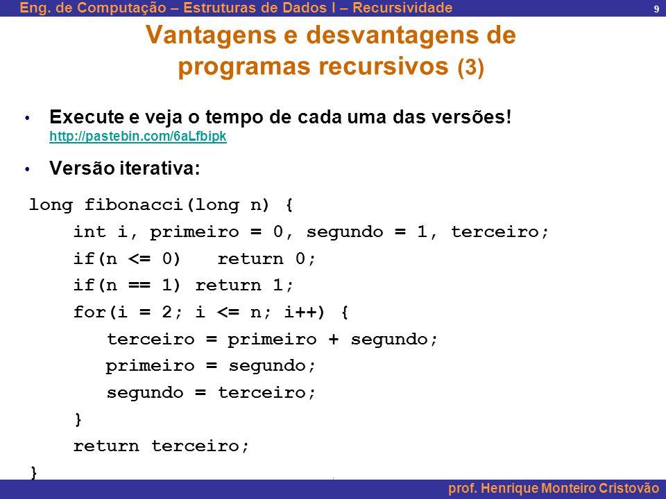 Vantagens e desvantagens de programas recursivos (3)