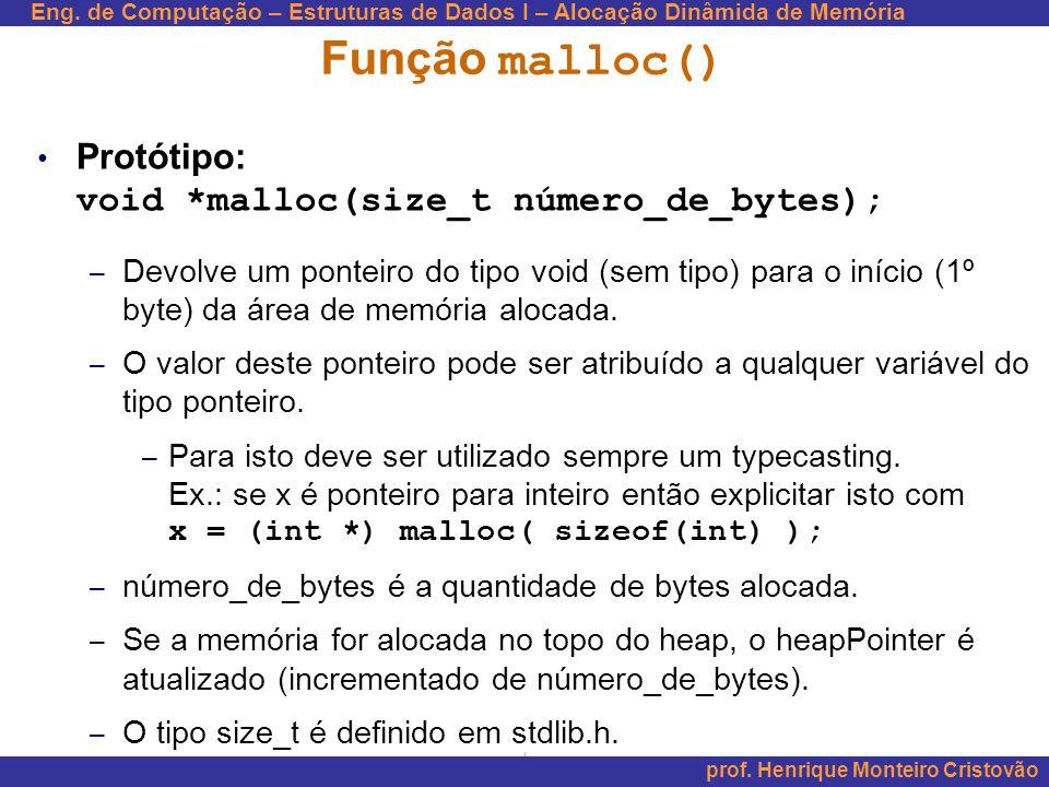 Função malloc() Protótipo: void *malloc(size_t número_de_bytes);