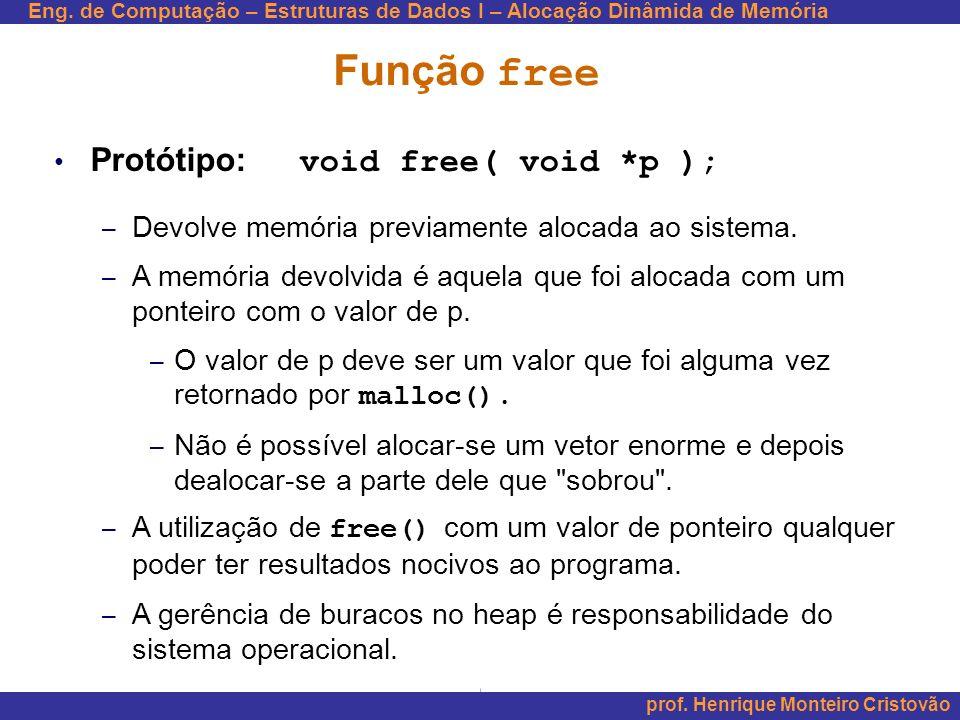 Função free Protótipo: void free( void *p );