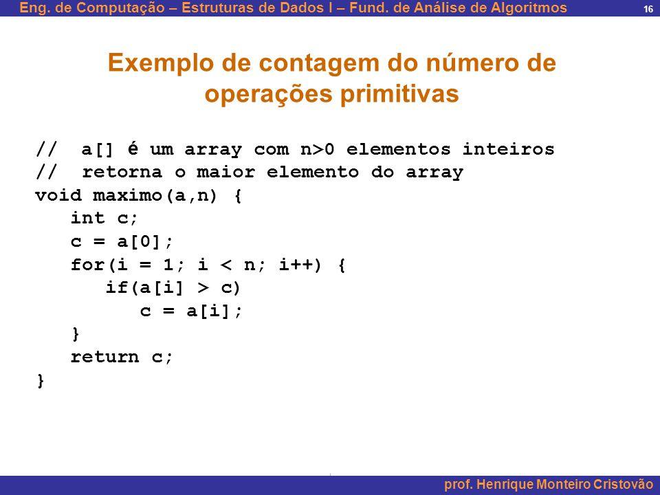 Exemplo de contagem do número de operações primitivas