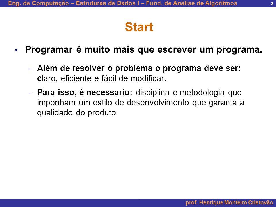 Start Programar é muito mais que escrever um programa.