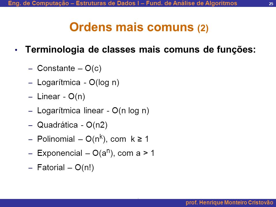 Ordens mais comuns (2) Terminologia de classes mais comuns de funções:
