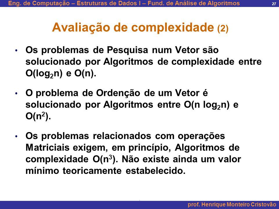 Avaliação de complexidade (2)
