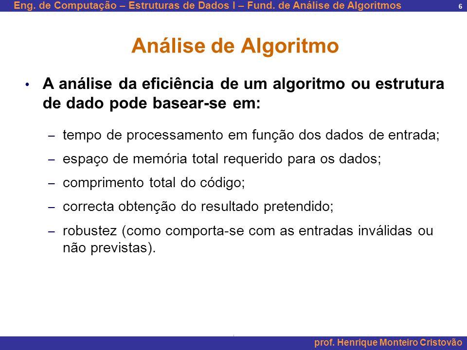 Análise de Algoritmo A análise da eficiência de um algoritmo ou estrutura de dado pode basear-se em: