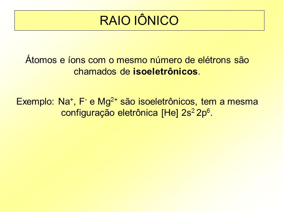 RAIO IÔNICO Átomos e íons com o mesmo número de elétrons são chamados de isoeletrônicos.
