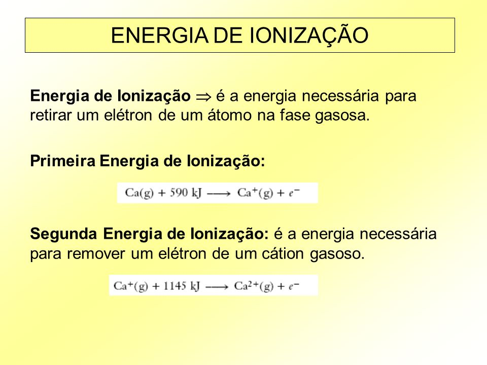 ENERGIA DE IONIZAÇÃO Energia de Ionização  é a energia necessária para retirar um elétron de um átomo na fase gasosa.
