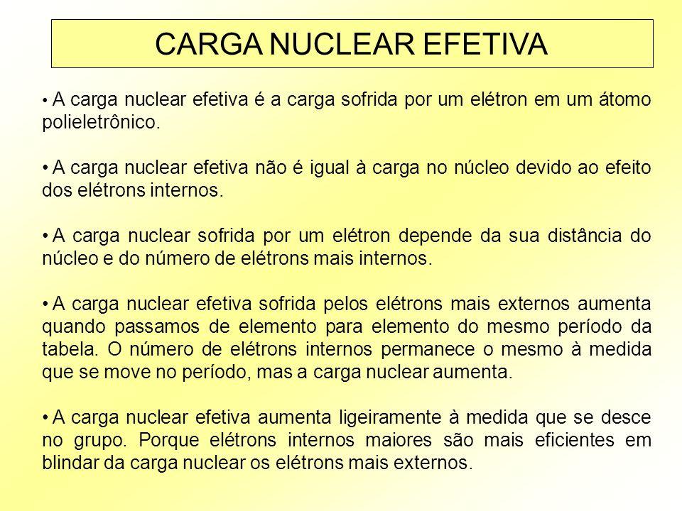 CARGA NUCLEAR EFETIVA A carga nuclear efetiva é a carga sofrida por um elétron em um átomo polieletrônico.