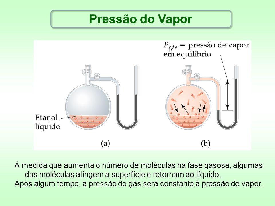 Pressão do Vapor À medida que aumenta o número de moléculas na fase gasosa, algumas das moléculas atingem a superfície e retornam ao líquido.