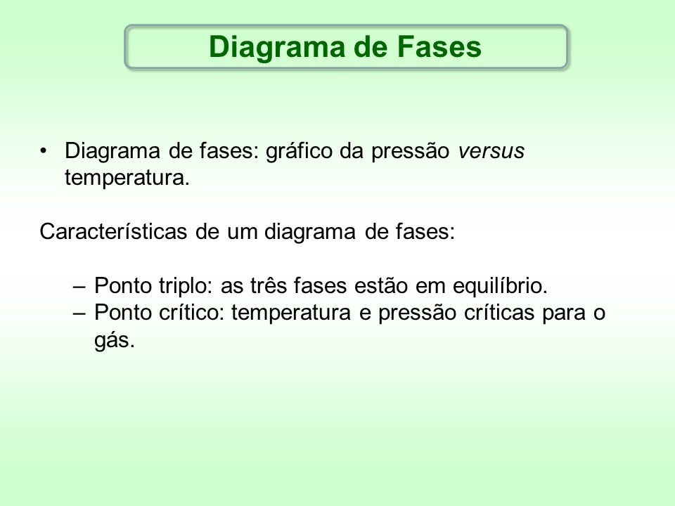 Diagrama de FasesDiagrama de fases: gráfico da pressão versus temperatura. Características de um diagrama de fases: