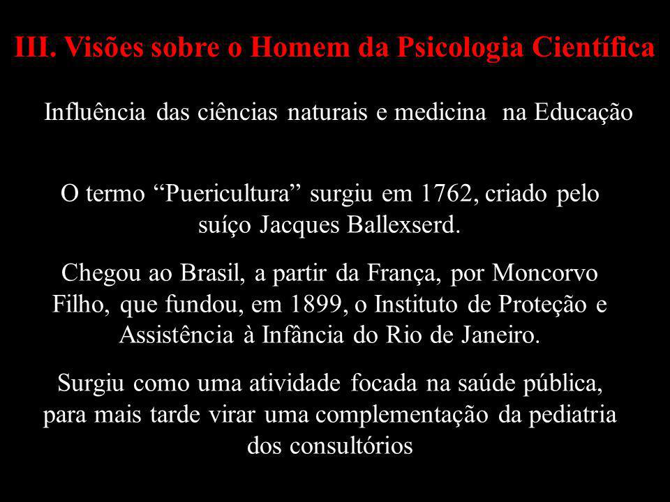 III. Visões sobre o Homem da Psicologia Científica Influência das ciências naturais e medicina na Educação