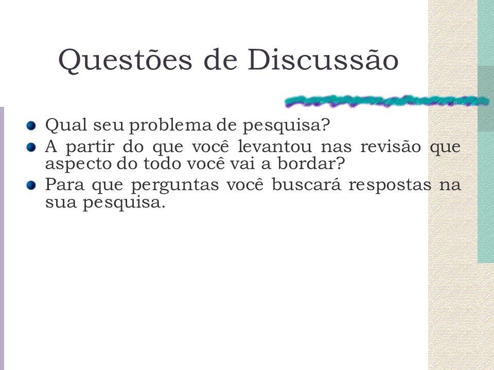 Questões de Discussão Qual seu problema de pesquisa