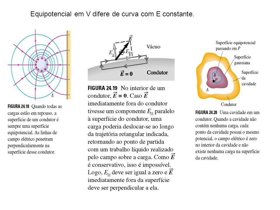 Equipotencial em V difere de curva com E constante.