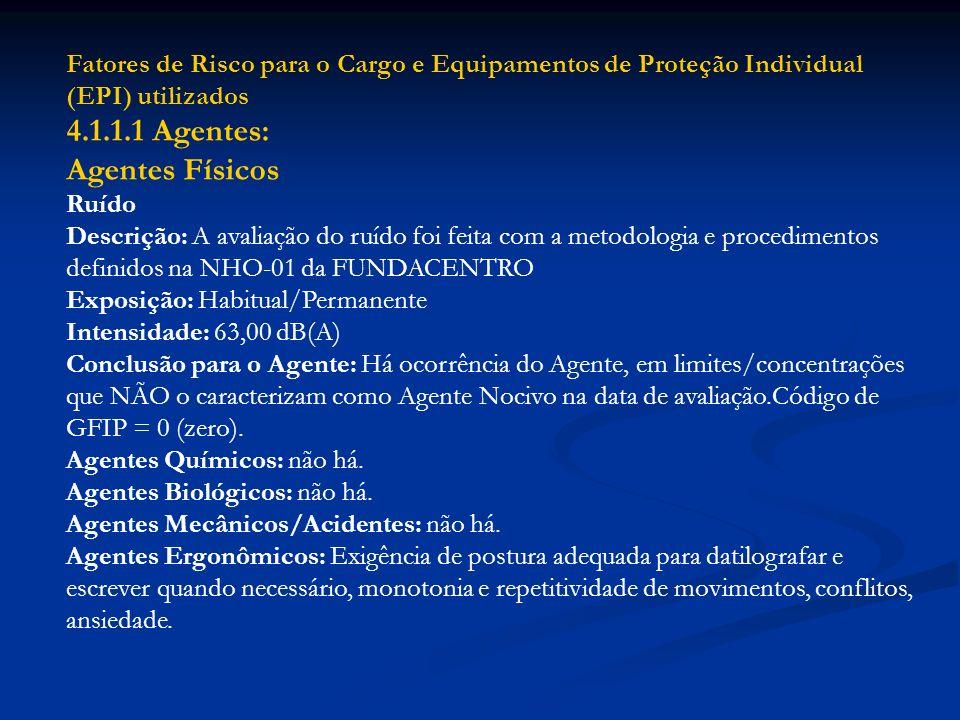 4.1.1.1 Agentes: Agentes Físicos