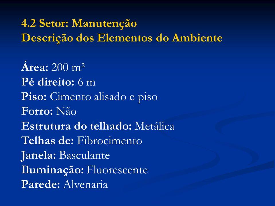 4.2 Setor: Manutenção Descrição dos Elementos do Ambiente. Área: 200 m². Pé direito: 6 m. Piso: Cimento alisado e piso.