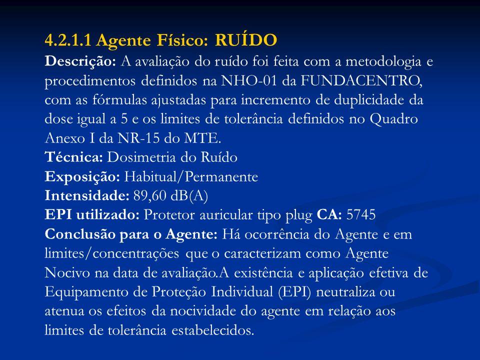 4.2.1.1 Agente Físico: RUÍDO