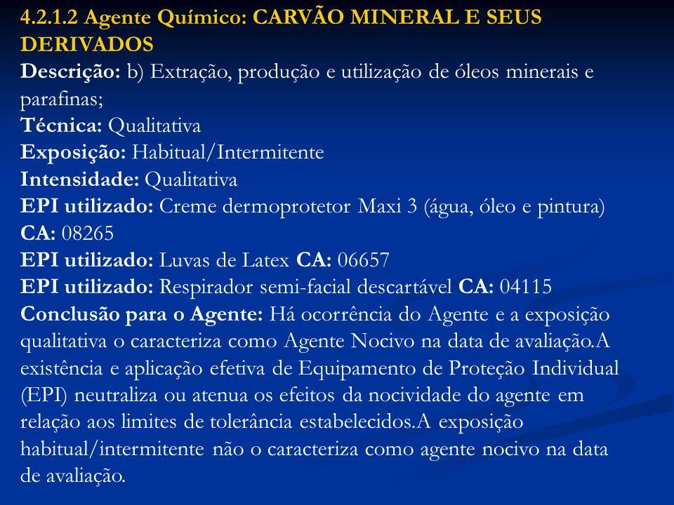 4.2.1.2 Agente Químico: CARVÃO MINERAL E SEUS DERIVADOS