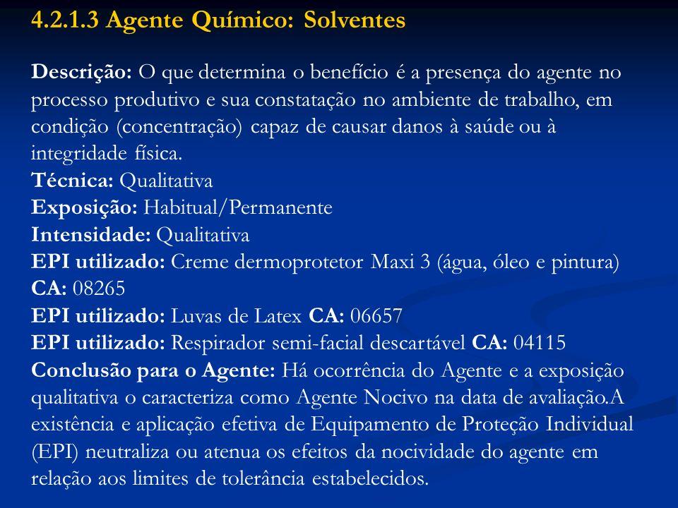 4.2.1.3 Agente Químico: Solventes