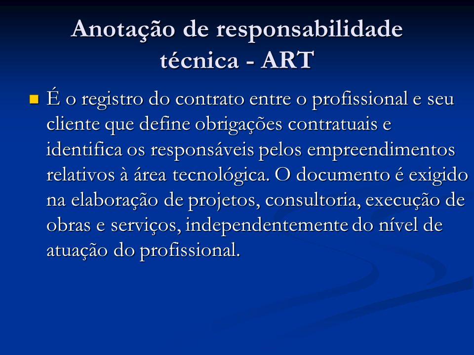 Anotação de responsabilidade técnica - ART