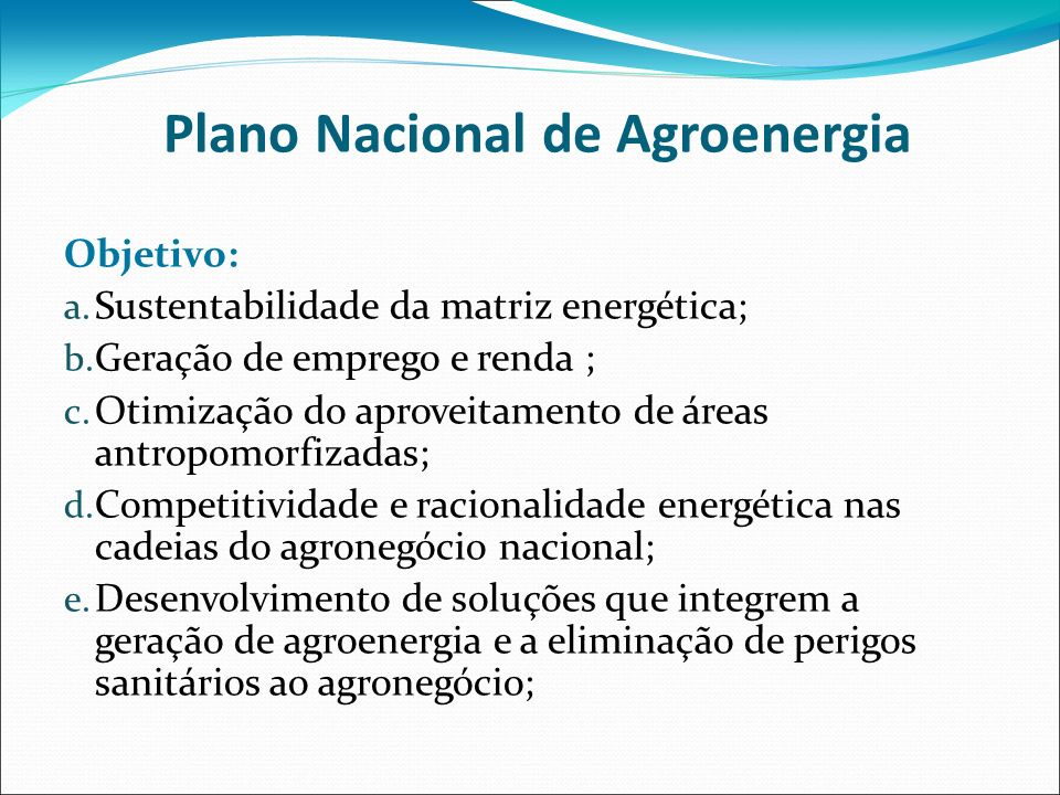 Plano Nacional de Agroenergia