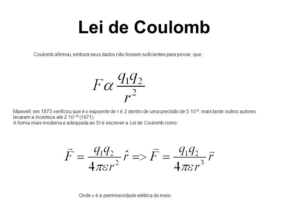 Lei de Coulomb Coulomb afirmou, embora seus dados não fossem suficientes para provar, que: