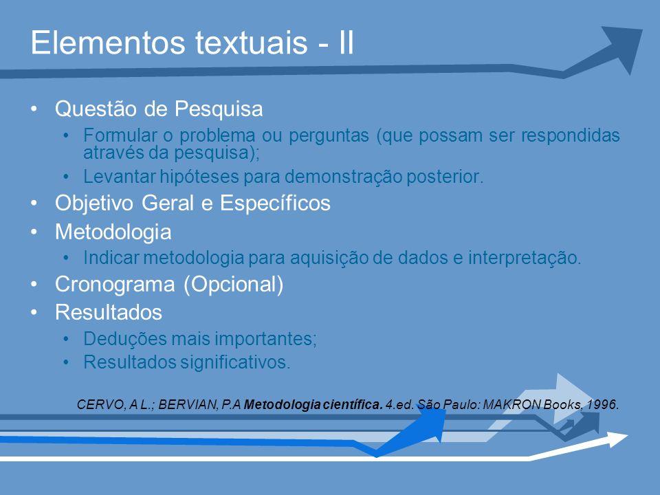 Elementos textuais - II