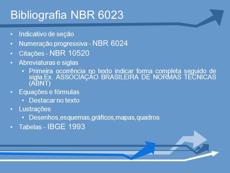 Bibliografia NBR 6023 Indicativo de seção