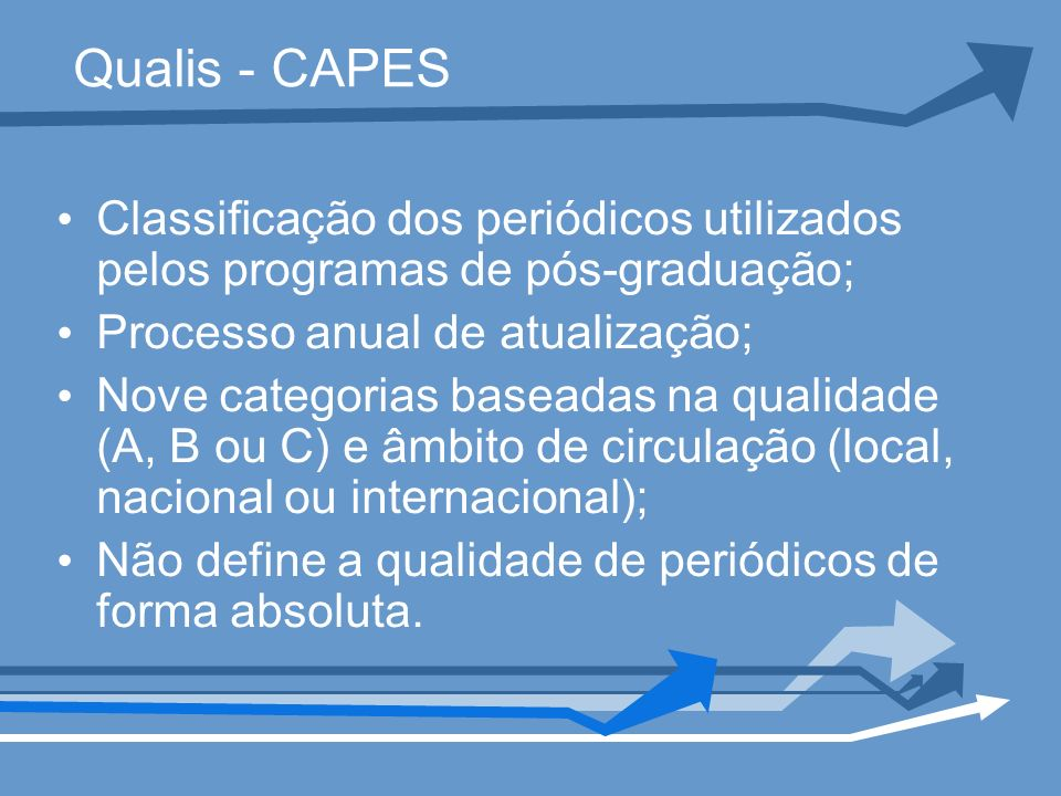 Qualis - CAPES Classificação dos periódicos utilizados pelos programas de pós-graduação; Processo anual de atualização;