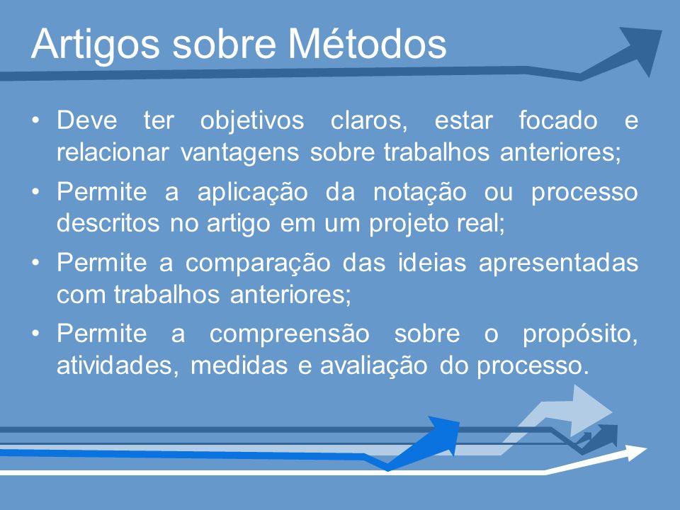 Artigos sobre Métodos Deve ter objetivos claros, estar focado e relacionar vantagens sobre trabalhos anteriores;