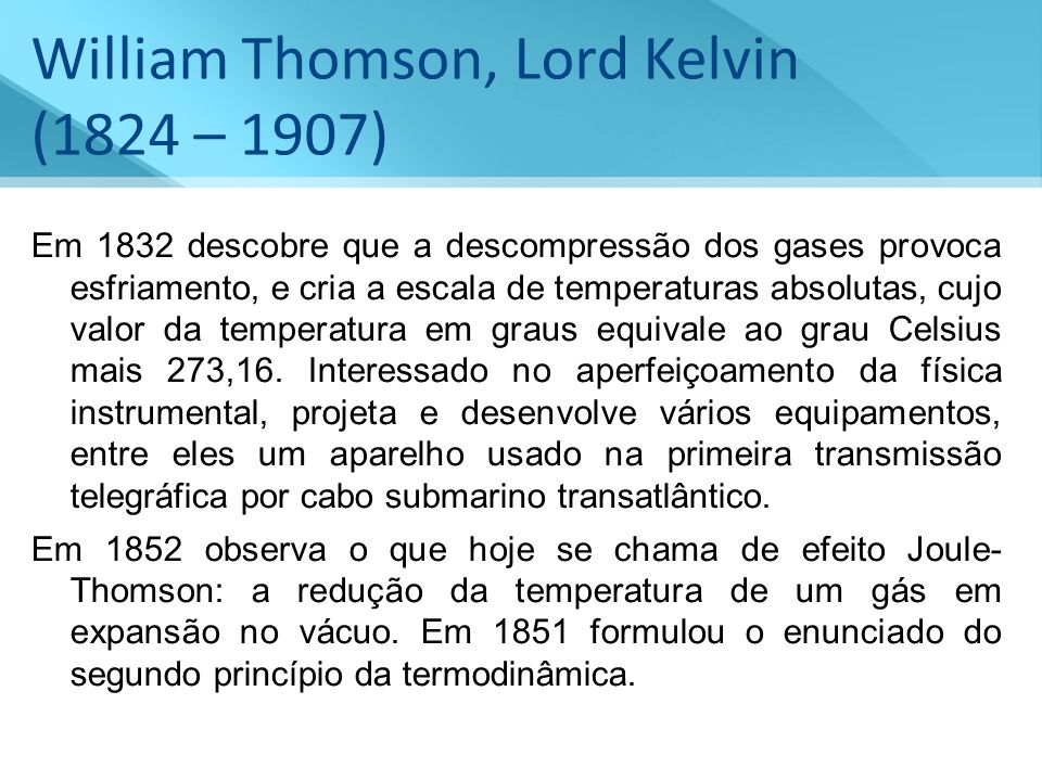 William Thomson, Lord Kelvin (1824 – 1907)