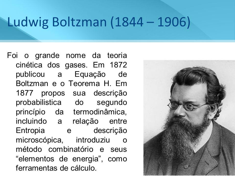Ludwig Boltzman (1844 – 1906)