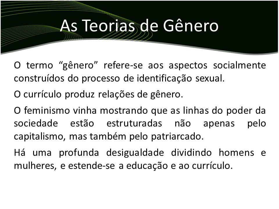 As Teorias de Gênero O termo gênero refere-se aos aspectos socialmente construídos do processo de identificação sexual.