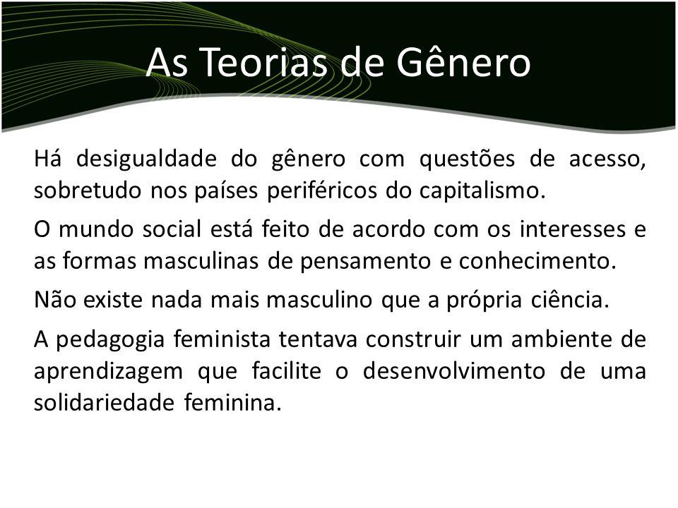 As Teorias de Gênero Há desigualdade do gênero com questões de acesso, sobretudo nos países periféricos do capitalismo.