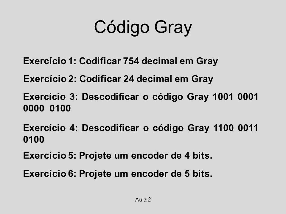 Código Gray Exercício 1: Codificar 754 decimal em Gray