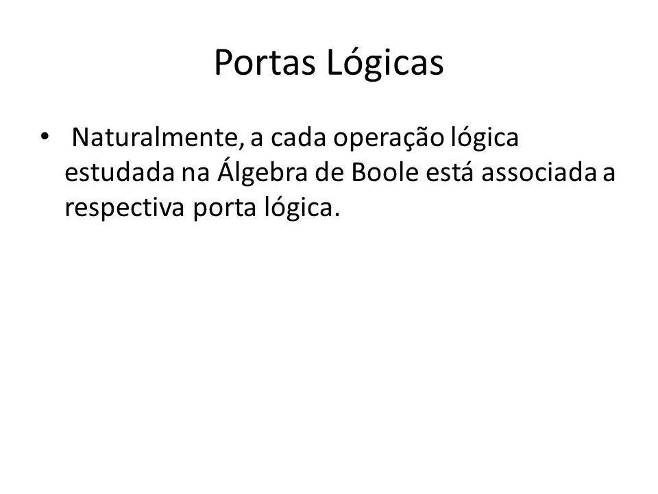 Portas Lógicas Naturalmente, a cada operação lógica estudada na Álgebra de Boole está associada a respectiva porta lógica.