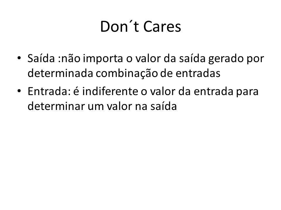 Don´t Cares Saída :não importa o valor da saída gerado por determinada combinação de entradas.