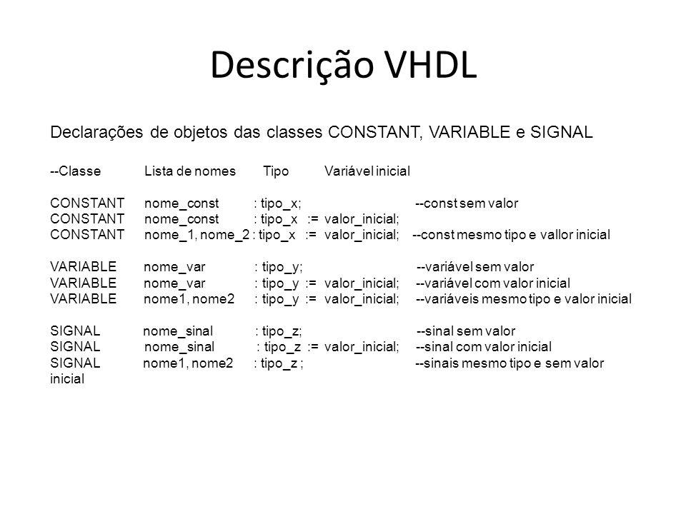 Descrição VHDL Declarações de objetos das classes CONSTANT, VARIABLE e SIGNAL. --Classe Lista de nomes Tipo Variável inicial.