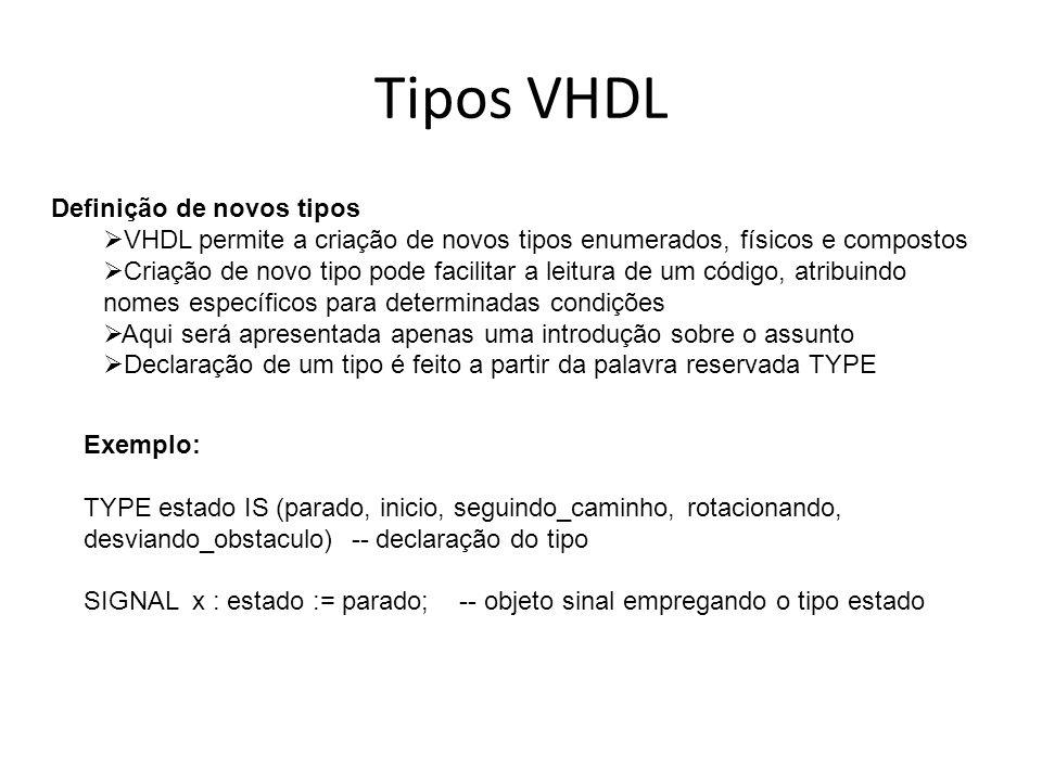 Tipos VHDL Definição de novos tipos