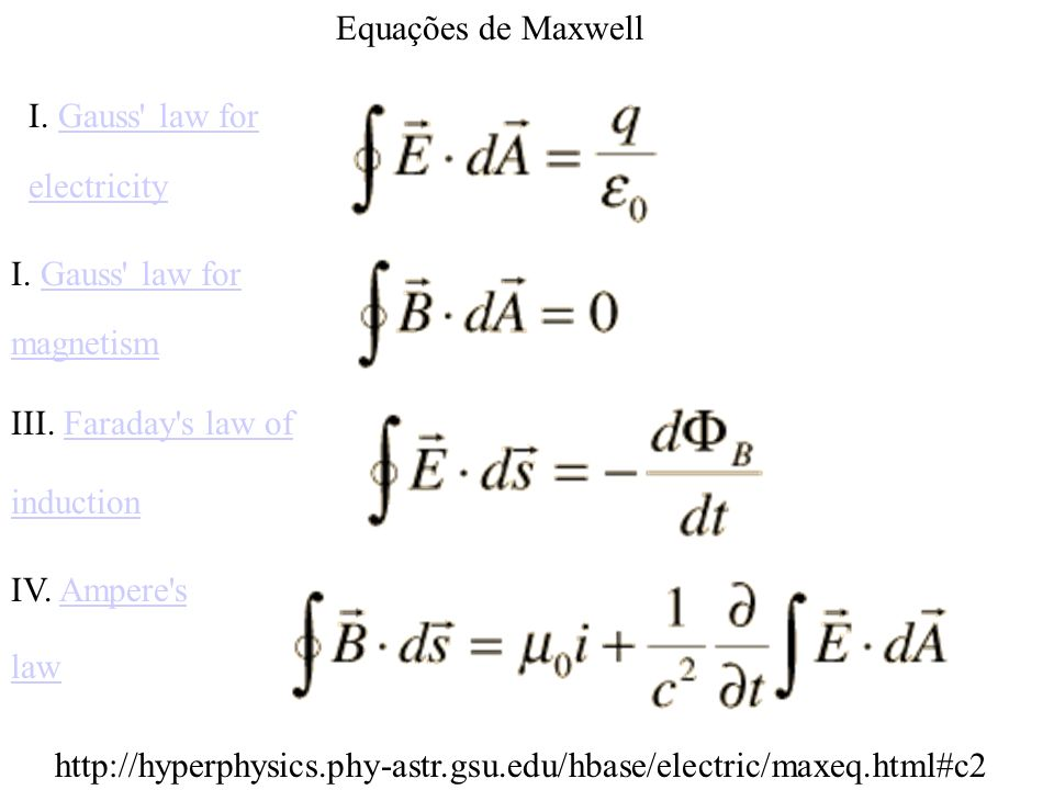 Equações de Maxwell I. Gauss law for electricity I. Gauss law for magnetism