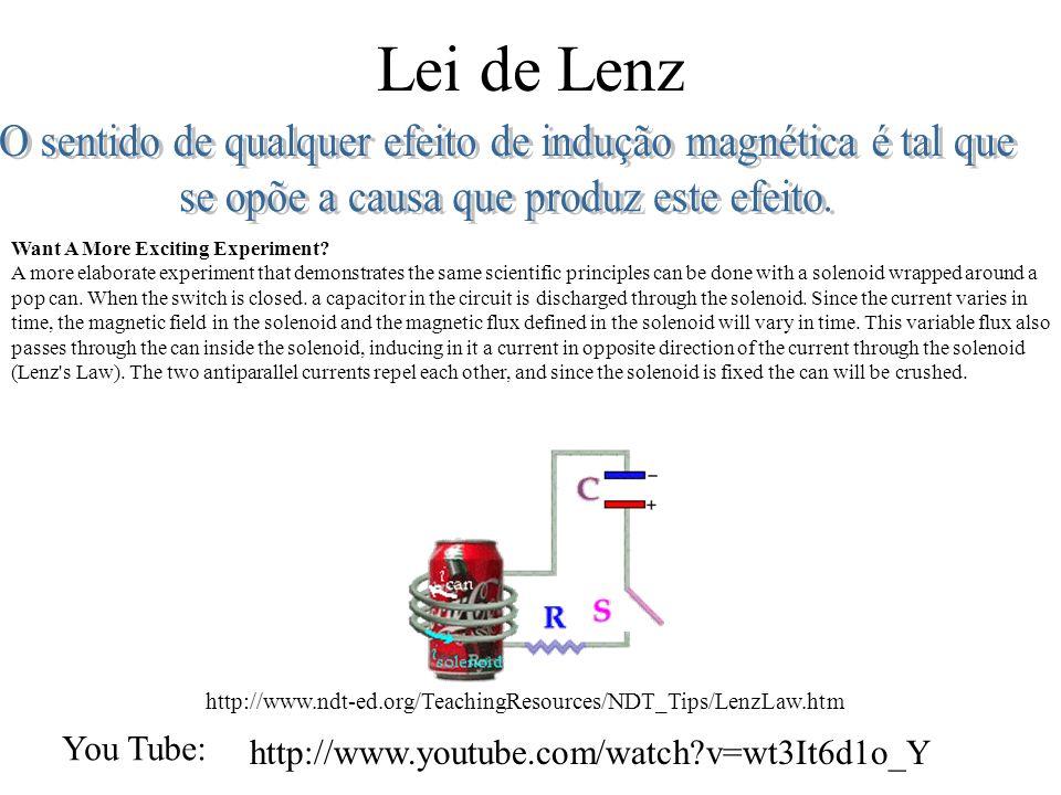 Lei de Lenz O sentido de qualquer efeito de indução magnética é tal que. se opõe a causa que produz este efeito.