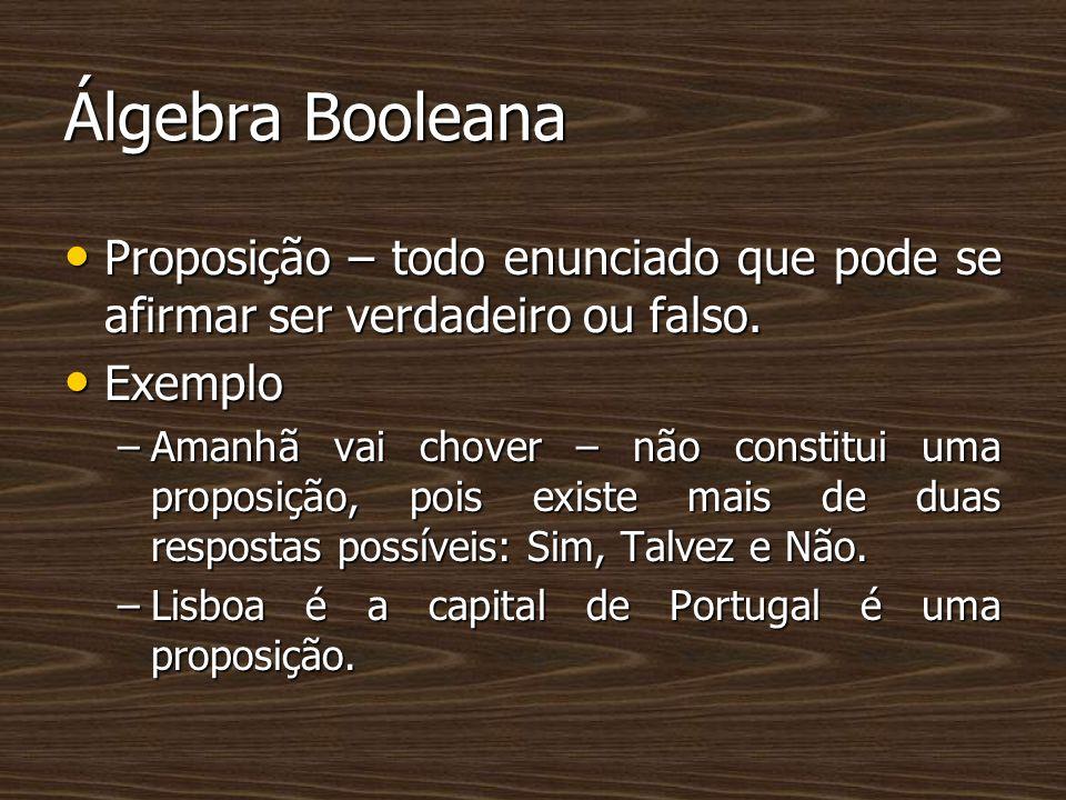 Álgebra Booleana Proposição – todo enunciado que pode se afirmar ser verdadeiro ou falso. Exemplo.