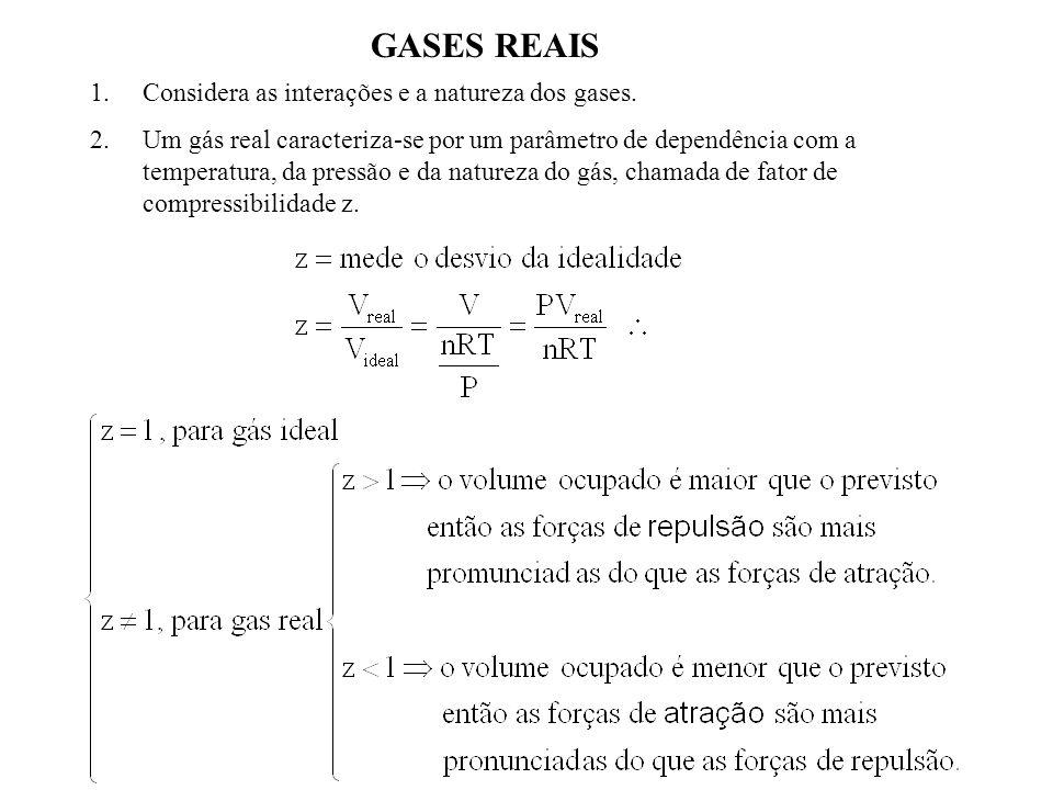GASES REAIS Considera as interações e a natureza dos gases.