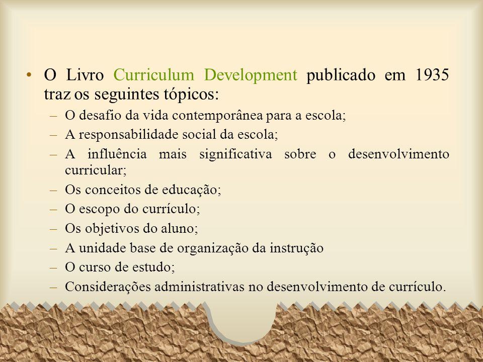 O Livro Curriculum Development publicado em 1935 traz os seguintes tópicos: