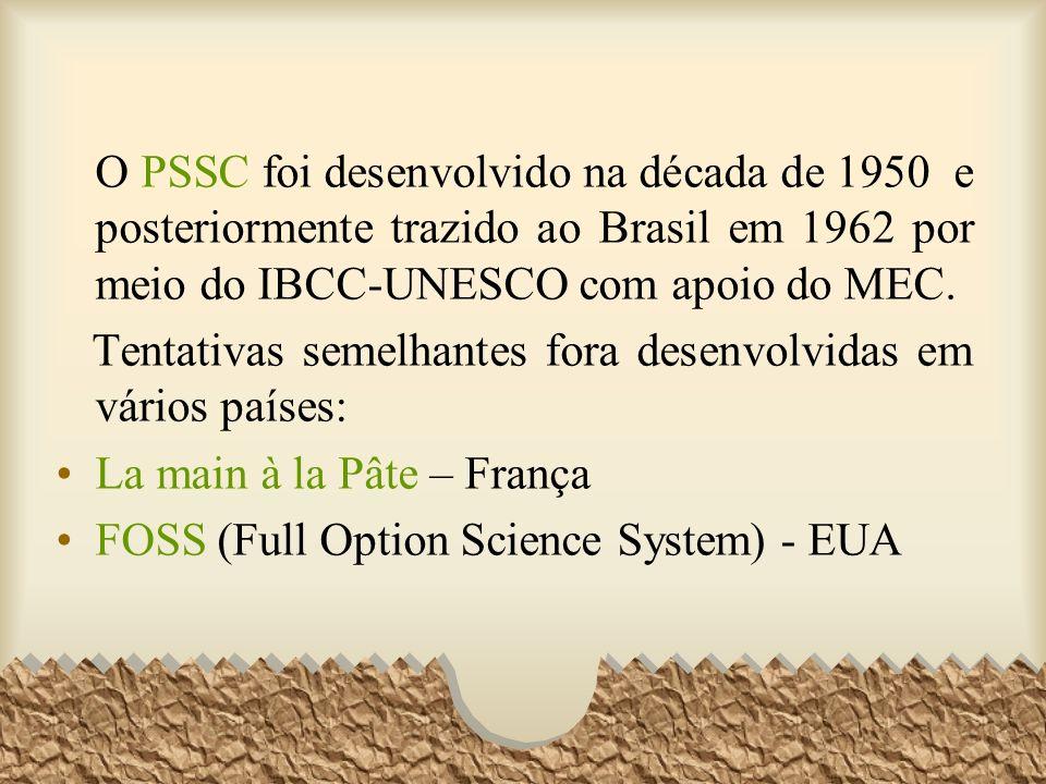 O PSSC foi desenvolvido na década de 1950 e posteriormente trazido ao Brasil em 1962 por meio do IBCC-UNESCO com apoio do MEC.